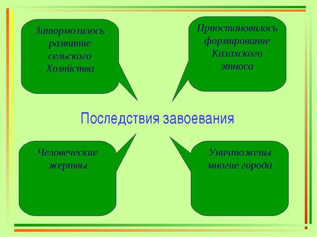 Последствия завоевания Приостановилось формирование Казахского этноса Затормо...