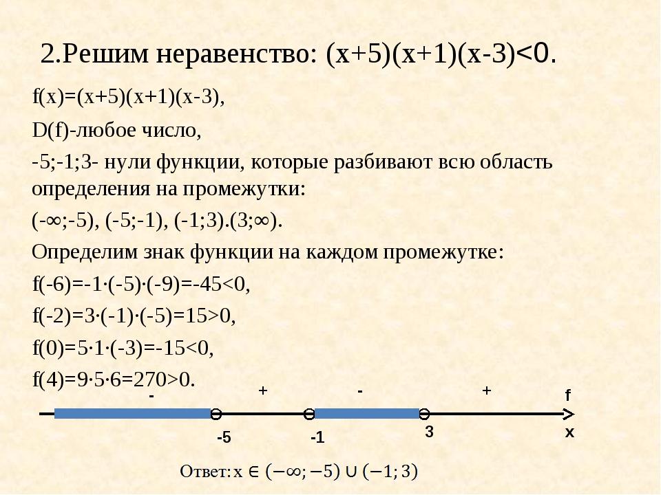 2.Решим неравенство: (х+5)(х+1)(х-3)