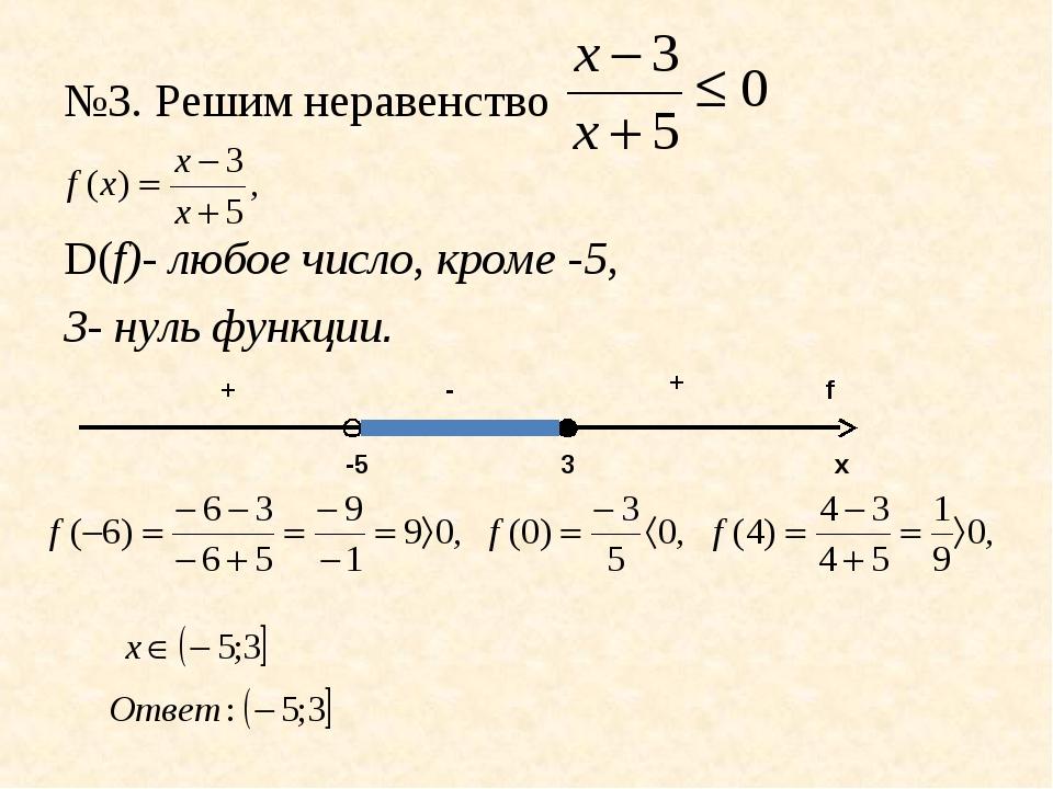№3. Решим неравенство D(f)- любое число, кроме -5, 3- нуль функции. х f -5 3...