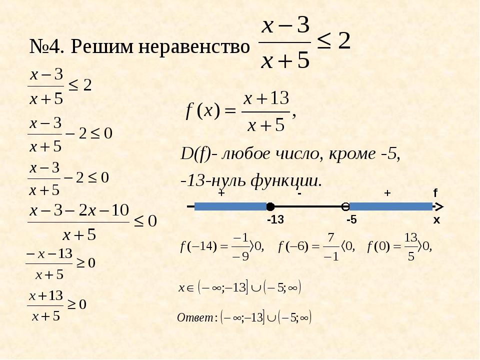 №4. Решим неравенство D(f)- любое число, кроме -5, -13-нуль функции. х f -13...
