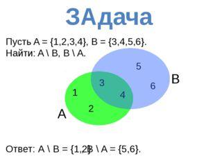 В Пусть A = {1,2,3,4}, B = {3,4,5,6}. Найти: A \ B, B \ A. A 3 1 2 6 5 4 Отв