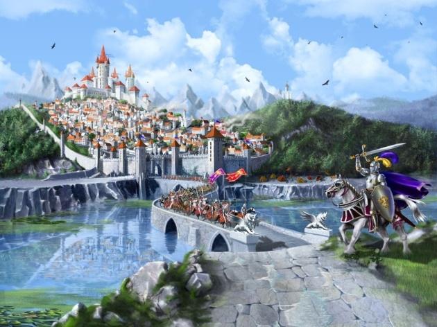Обои средневековье, озеро, кони, замок, рыцари 324213 / Раздел: Фантастика / Гудфон.рф (GoodFon)