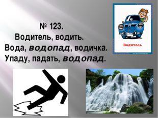 № 123. Водитель, водить. Вода, водопад, водичка. Упаду, падать, водопад.