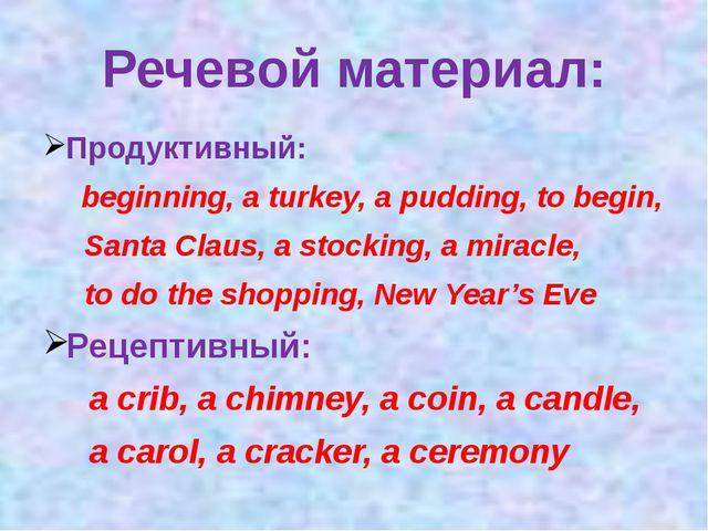 Речевой материал: Продуктивный: beginning, a turkey, a pudding, to begin, San...