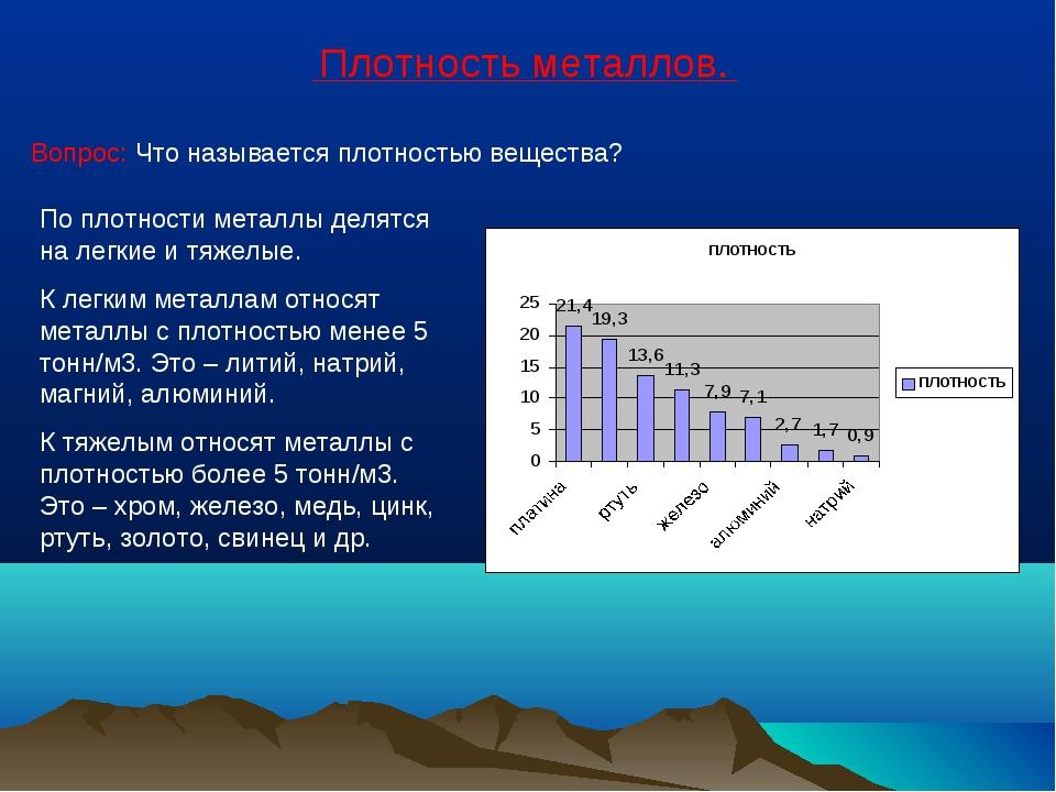 Плотность металлов. Вопрос: Что называется плотностью вещества? По плотности...