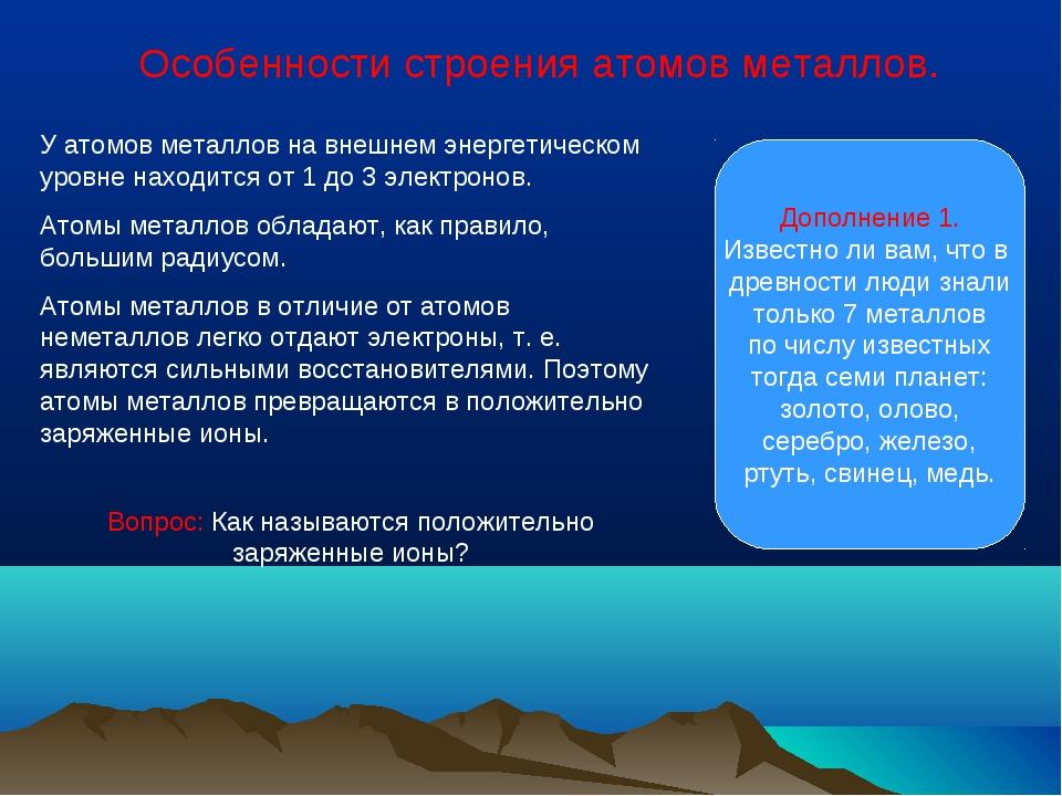 Особенности строения атомов металлов. У атомов металлов на внешнем энергетиче...