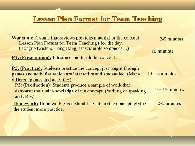 Lesson Plan Format for Team Teaching Warm up: A game that reviews previous ma...