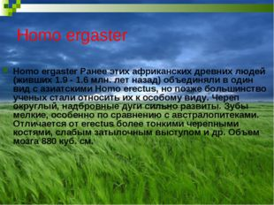 Homo ergaster Homo ergaster Ранее этих африканских древних людей (живших 1.9