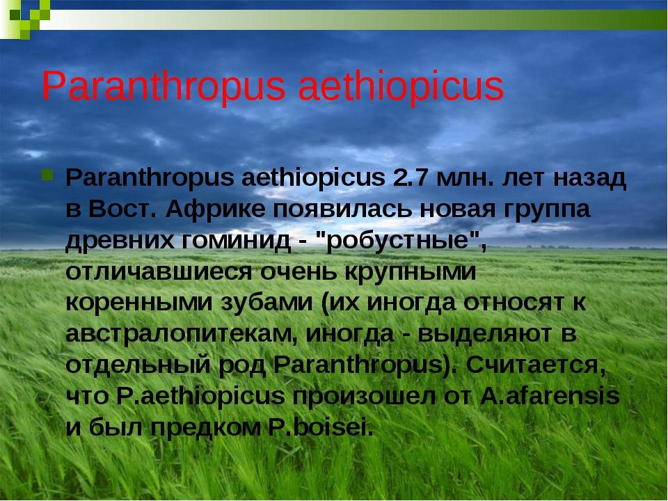 Paranthropus aethiopicus Paranthropus aethiopicus 2.7 млн. лет назад в Вост....
