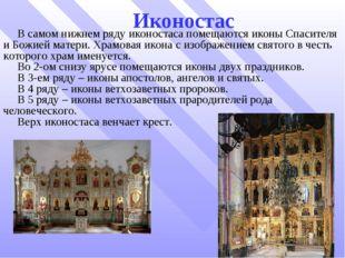 Иконостас В самом нижнем ряду иконостаса помещаются иконы Спасителя и Божией
