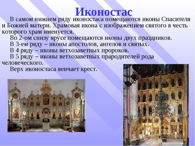 Иконостас В самом нижнем ряду иконостаса помещаются иконы Спасителя и Божией...