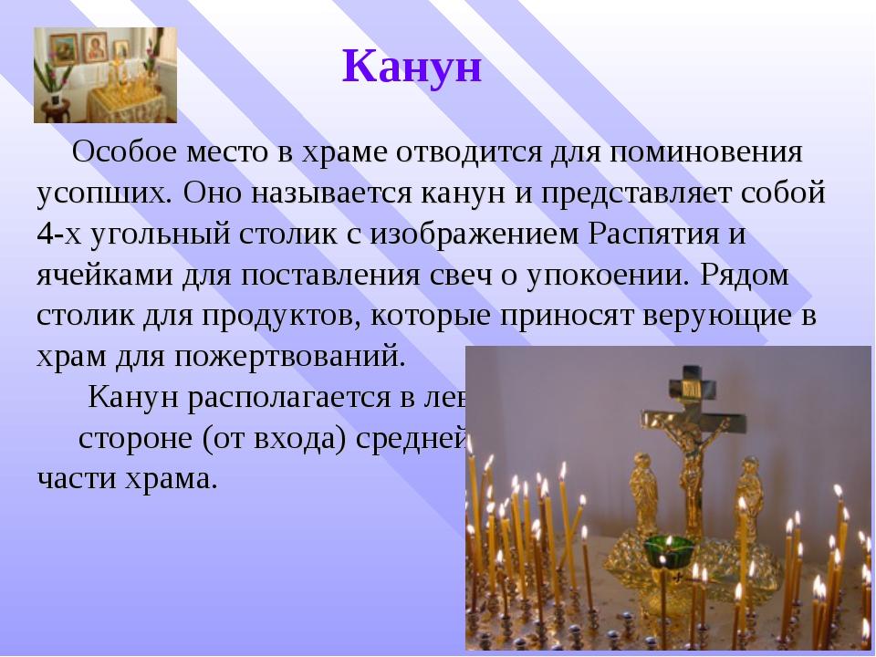Канун Особое место в храме отводится для поминовения усопших. Оно называется...
