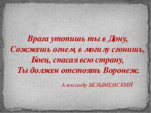 Врага утопишь ты в Дону, Сожжешь огнем, в могилу сгонишь, Боец, спасая всю ст