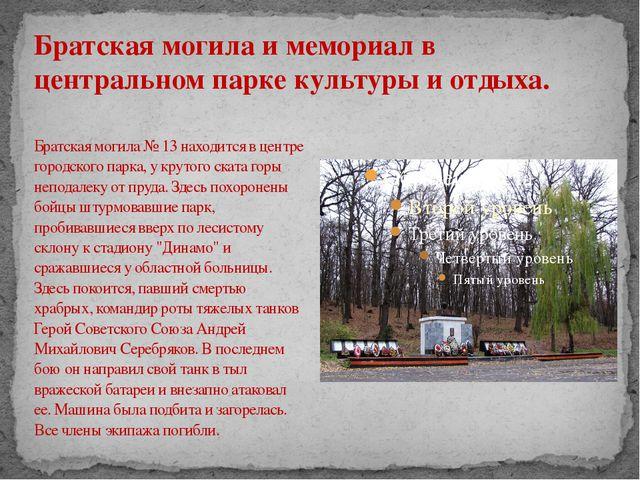 Братская могила № 13 находится в центре городского парка, у крутого ската гор...