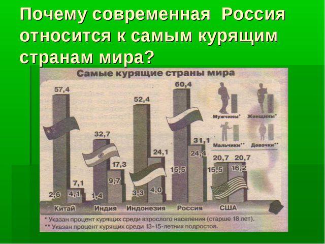 Почему современная Россия относится к самым курящим странам мира?