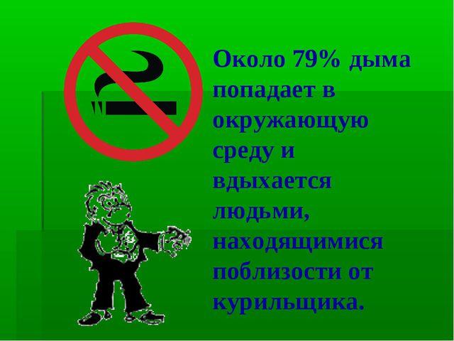 Около 79% дыма попадает в окружающую среду и вдыхается людьми, находящимися п...