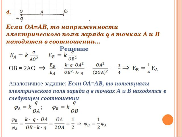 4. Если ОА=АВ, то напряженности электрического поля заряда q в точках А и В...