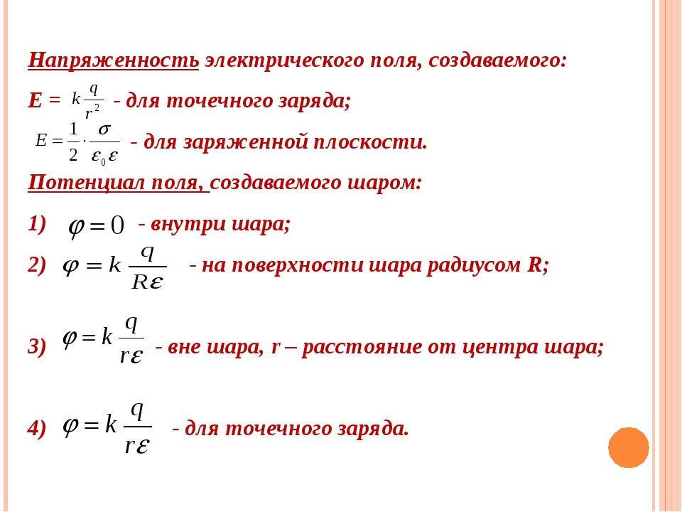 Напряженность электрического поля, создаваемого: Е = - для точечного заряда;...