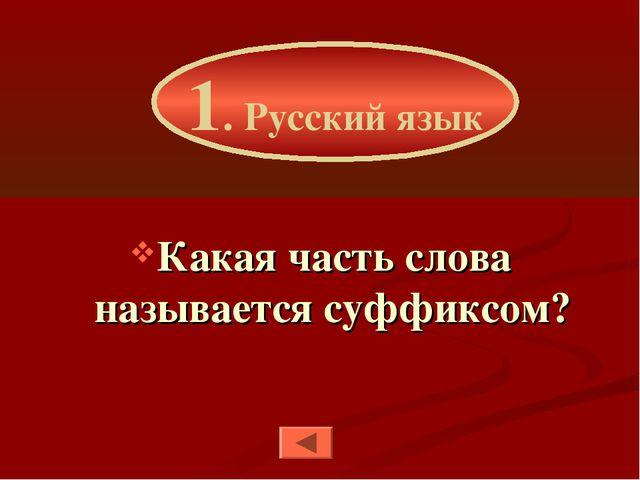 Какая часть слова называется суффиксом? 1. Русский язык
