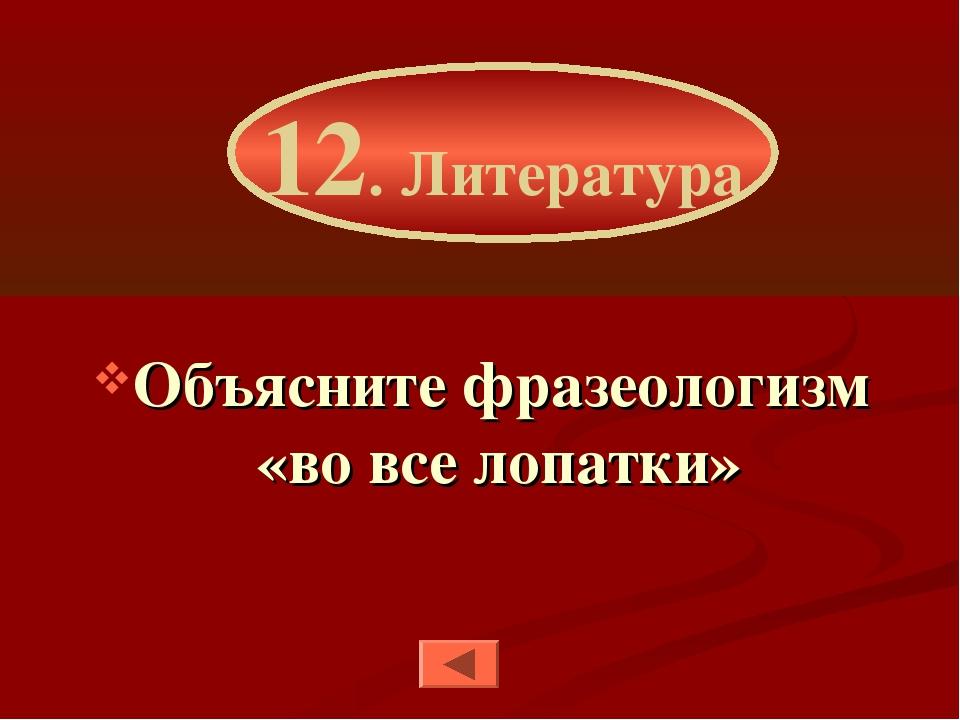 Объясните фразеологизм «во все лопатки» 12. Литература