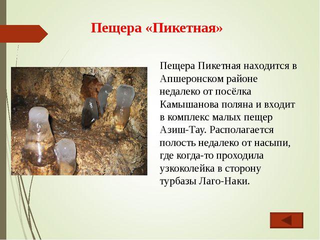 Пещера «Пикетная» Пещера Пикетная находится в Апшеронском районе недалеко от...