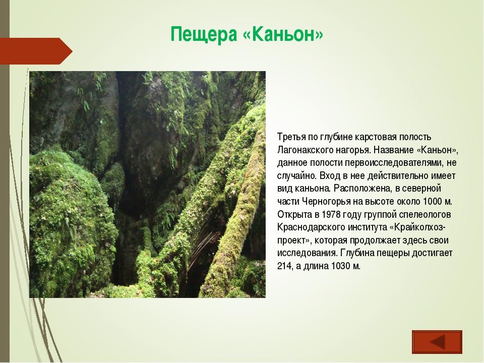 Пещера «Каньон» Третья по глубине карстовая полость Лагонакского нагорья. Наз...