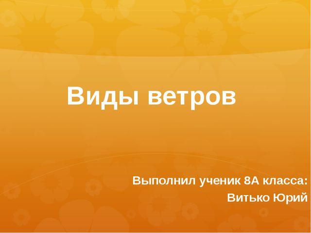 Виды ветров Выполнил ученик 8А класса: Витько Юрий