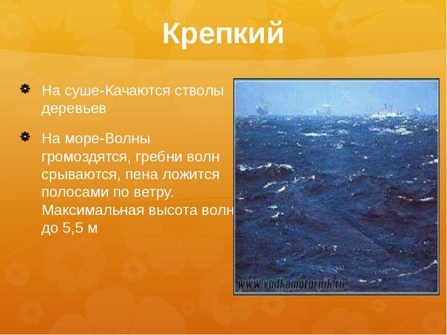 Крепкий На суше-Качаются стволы деревьев На море-Волны громоздятся, гребни во...
