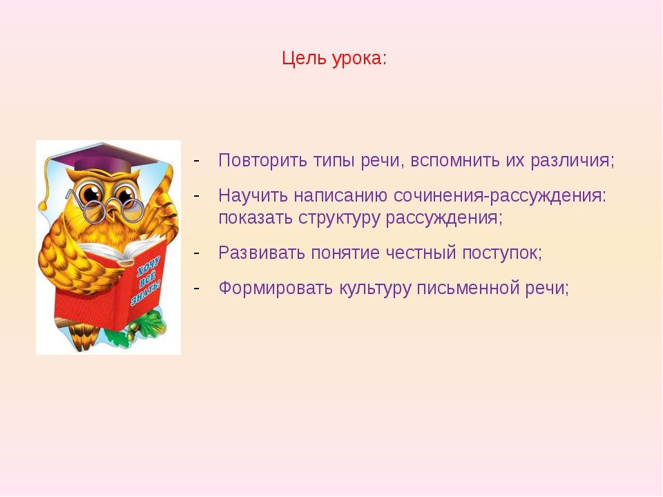 Цель урока: Повторить типы речи, вспомнить их различия; Научить написанию соч...