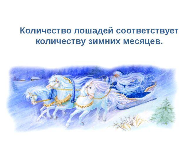 Количество лошадей соответствует количеству зимних месяцев.