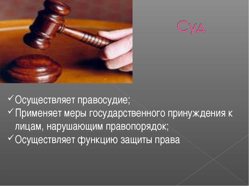Осуществляет правосудие; Применяет меры государственного принуждения к лицам,...
