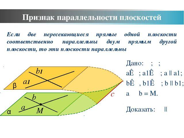 Признак параллельности плоскостей a b α b1 a1 β Дано: α; β; a⊂α; a1⊂ β; a ||...