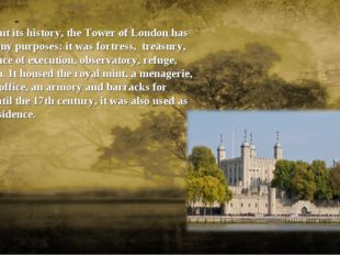 Throughout its history, the Tower of London has served many purposes: it was