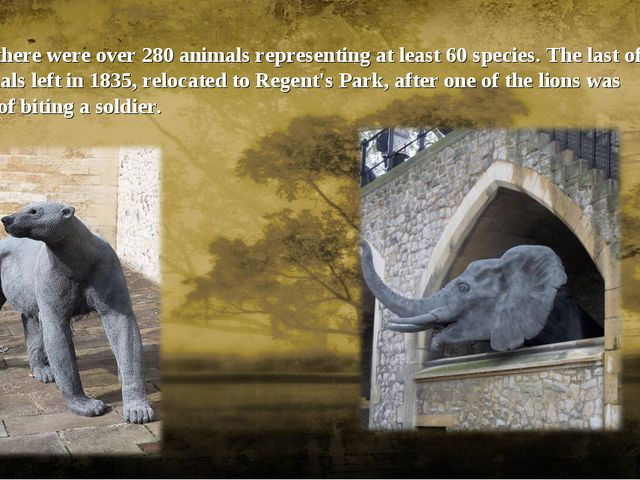 In 1828 there were over 280 animals representing at least 60 species. The las...