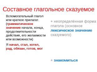 Составное глагольное сказуемое Вспомогательный глагол или краткое прилагат. (