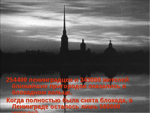 254400 ленинградцев и 343000 жителей ближайших пригородов оказались в блокадн...