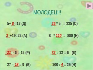 МОЛОДЕЦ!!! 5+ 8 =13 (Д) 25 * 5 = 225 (С) 3 +19=22 (А) 8 * 110 = 880 (Н) 21 -