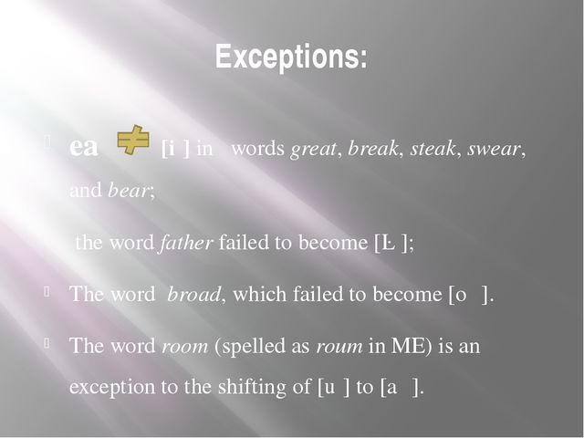 Exceptions: ea [iː] in words great, break, steak, swear, and bear; the word f...