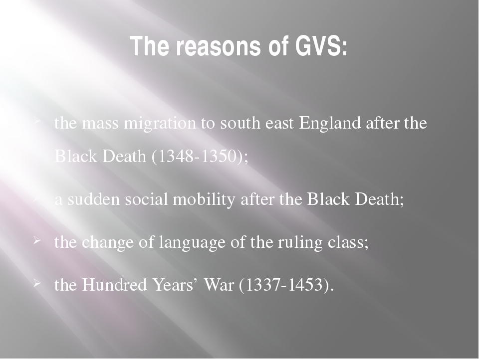 The reasons of GVS: the mass migration to south east England after the Black...