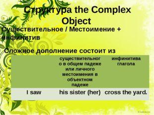 Структура the Complex Object Существительное / Местоимение + инфинитив Сложно