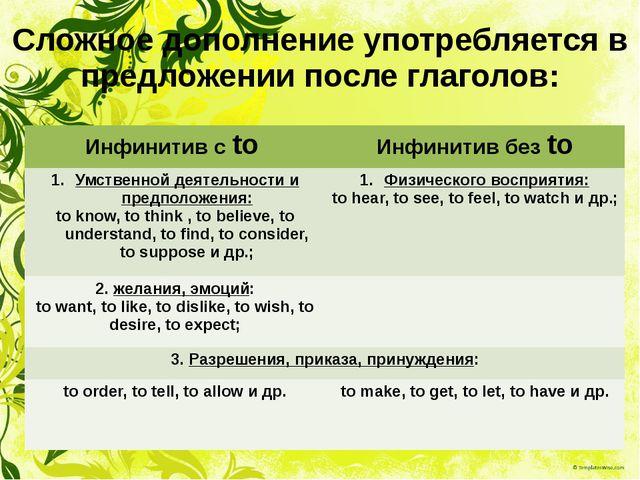 Сложное дополнение употребляется в предложении после глаголов: Инфинитив сto...