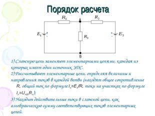 Порядок расчета 1) Сложную цепь заменяют элементарными цепями, каждая из кото