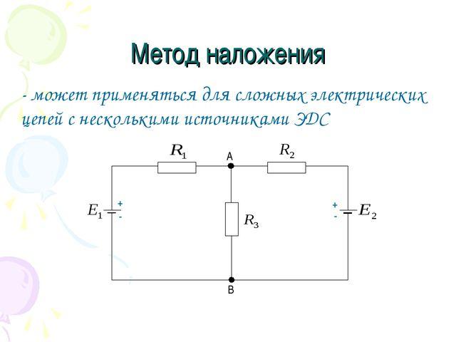 Метод наложения - может применяться для сложных электрических цепей с несколь...