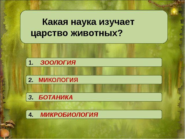 Какая наука изучает царство животных? 3. БОТАНИКА 2. МИКОЛОГИЯ 1. ЗООЛОГИЯ...