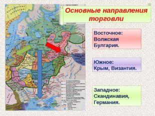 Основные направления торговли Восточное: Волжская Булгария. Южное: Крым, Виза