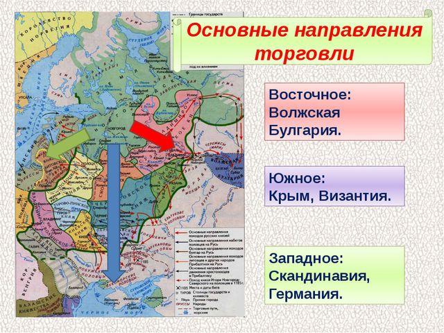 Основные направления торговли Восточное: Волжская Булгария. Южное: Крым, Виза...
