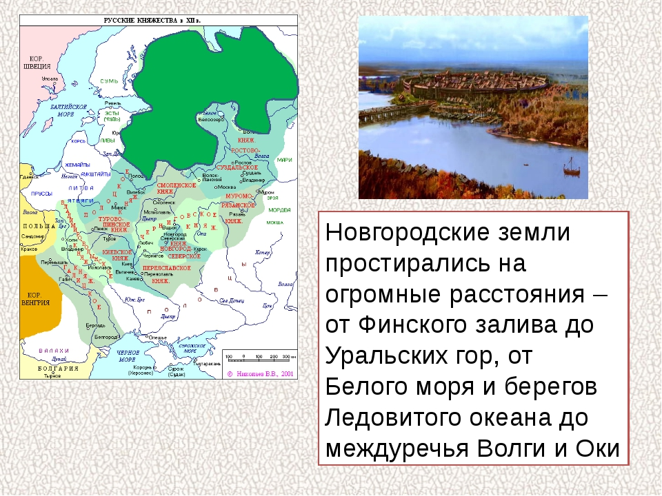 Новгородские земли простирались на огромные расстояния – от Финского залива д...