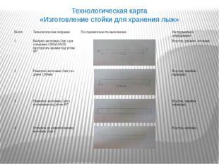 Технологическая карта «Изготовление стойки для хранения лыж» №п/п Технологиче