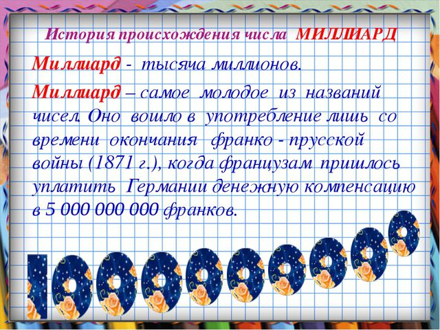 История происхождения числа МИЛЛИАРД Миллиард - тысяча миллионов. Миллиард –...