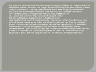 Die Texte von Rammstein und vor allem deren Vortrag durch Sänger Till Lindema